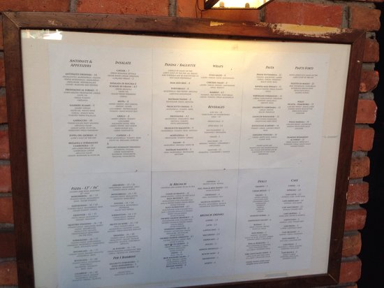 Trattoria Dionisia: Outdoor menu