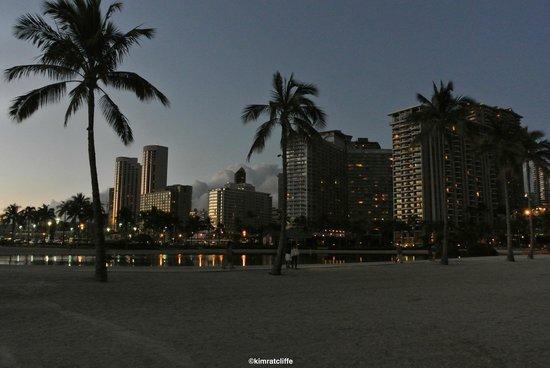 Waikiki Marina Resort at the Ilikai: View of lagoon at night.