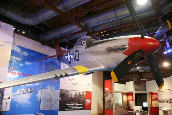 Tuskegee Airmen National Historic Site: A red-tailed P-51 Mustang, the symbol of the Tuskegee airmen.