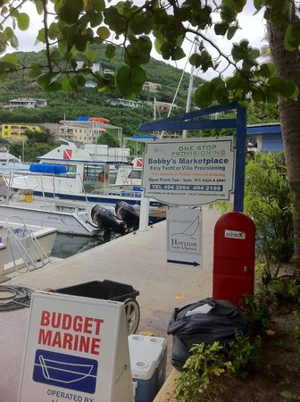 Nanny Cay Marina & Hotel: Main Dock Little Bobbys Supper Market,