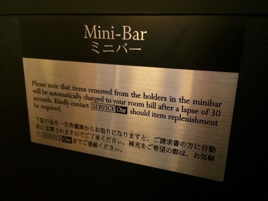 Pan Pacific Singapore: The mini bar which automatically detects your usage, cool!