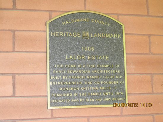 Lalor Estate Inn: plaque