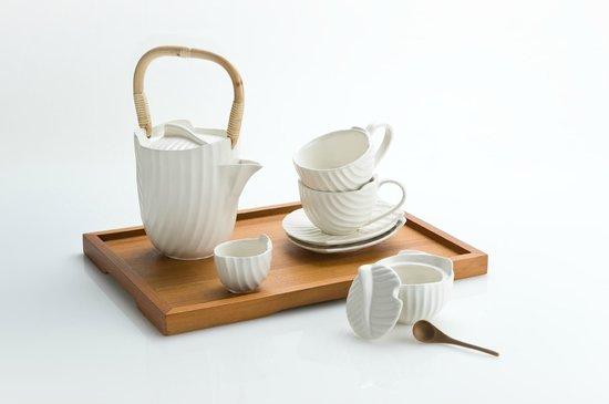 Jenggala: The Pincuk Tea Set in Creme Kahala glaze