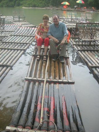 Yangshuo Private Tour-Day Tour: Analee & James at Yulong bamboo boat.
