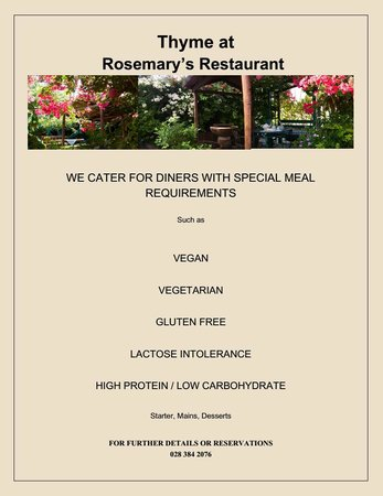 Thyme at Rosemary's Restaurant: Special Meal Requirements