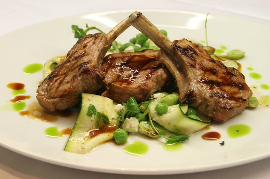 Number Twelve: New season lamb cutlets peas broad bean feta and gremolata