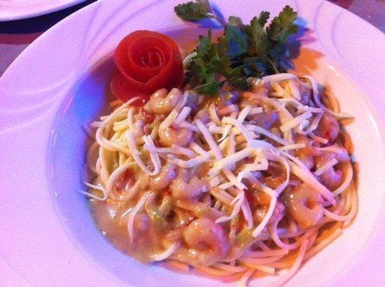 Andy's Restaurant & Bar: spaghetti met garnalen in romige saus