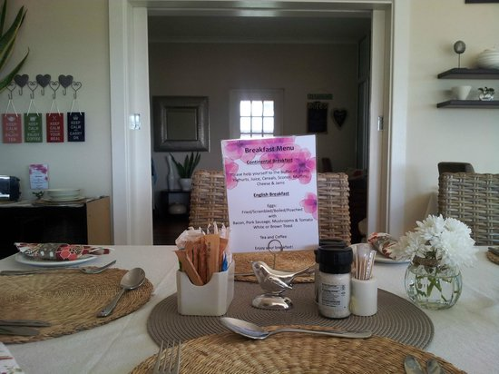 Palm Beach Guesthouse : Our breakfast menu