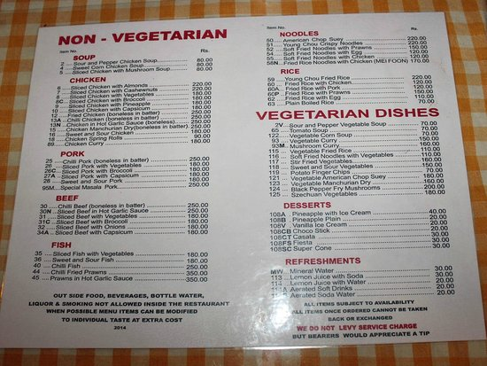 Shinkows menu card note no liquor just tasty chinese for Accord asian cuisine menu
