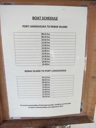 Vivanta by Taj Rebak Island, Langkawi: Ferry schedule