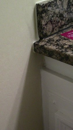 Crowne Plaza  Resort Asheville: water stains under wall paper and part of mock cabinet