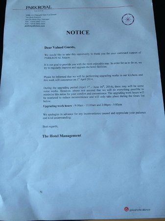 PARKROYAL Saigon: Letter showing renovation work starts at 9am but it actually starts at 7:55am