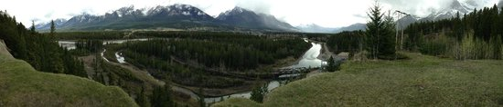 Canmore Nordic Centre Provincial Park: 180 degree pan shot of Bow River from high bluff Canmore, AB