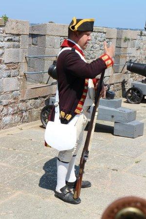 Elizabeth Castle: Lesson in firing a musket