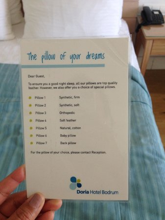 Doria Hotel Bodrum: Pillow Menu
