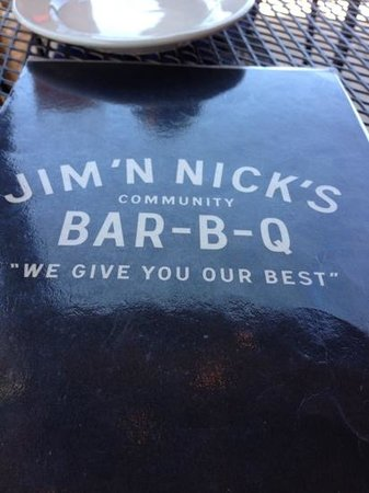 Jim 'N Nick's Bar-B-Q: cover of menu