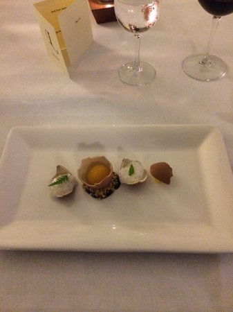 The Lovat, Loch Ness: Looks like an egg, actually a dessert - the shells were chocolate. The egg yoke, mango. Really d