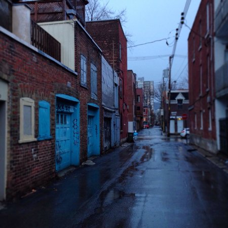 Plateau Mont-Royal : Rainy day on the Plateau (typical Plateau alley)