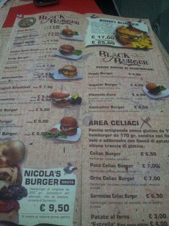 Frattamaggiore, Италия: Menu, area per celiaci e vegetariani