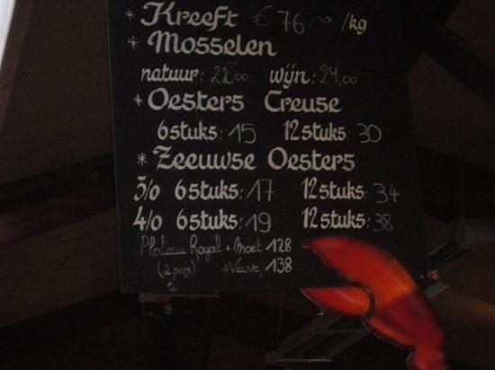 prijslijst Oesterput