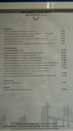 TRYP Lisboa Aeroporto Hotel : Carte Restaurant