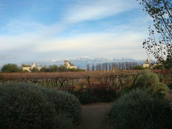 Cavas Wine Lodge: Vsita del comedor hacia las cabañas y montañas