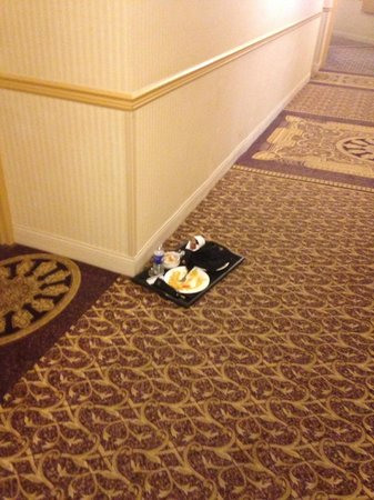 Hilton Woodcliff Lake : Food that was laying in he hallway for at least 20 hours