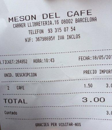 Meson del Cafe: Il conto