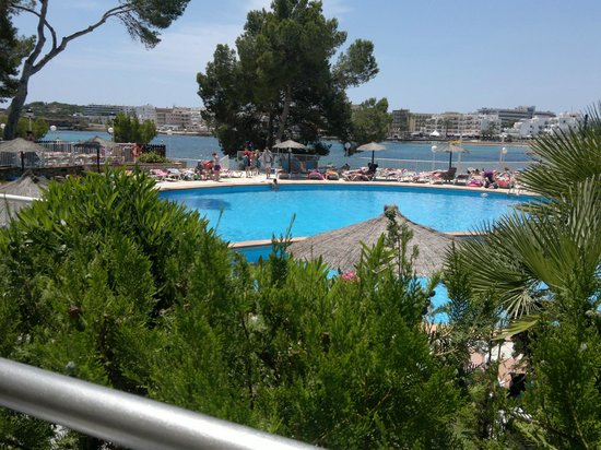Intertur Hotel Miami Ibiza : View from outside Restaurant overlooking pool & sea.