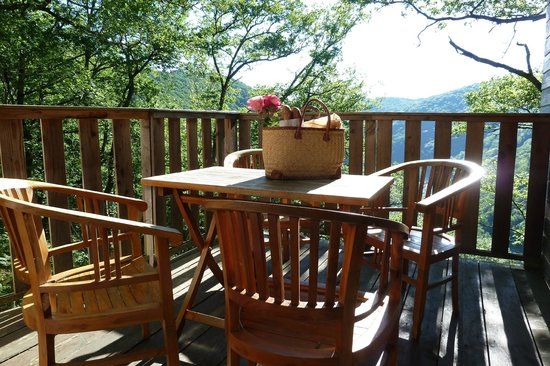 Hetre sous le Charme : Terrasse et panier petit déjeuner