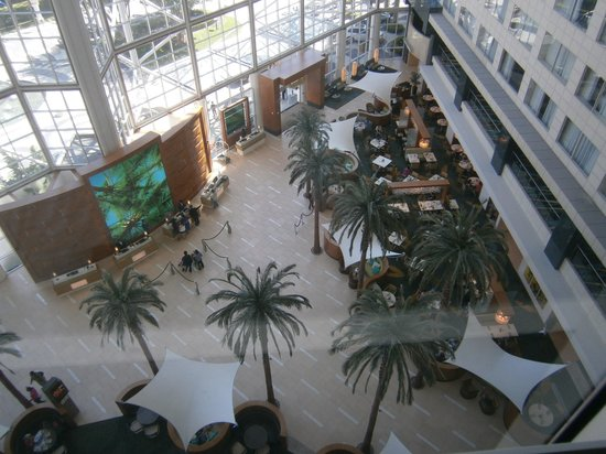 Hyatt Regency Orange County: View of the lobby from room 653