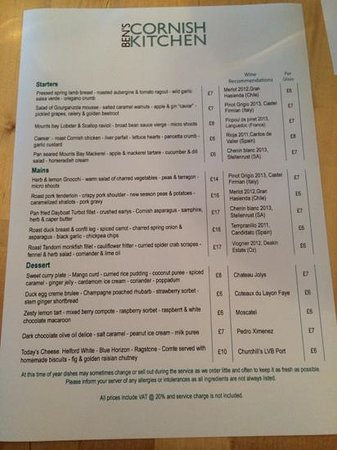 Ben's Cornish Kitchen: Menu