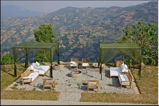 The Dwarika's Resort-Dhulikhel: Beautiful patio / seating areas are situated all throughout the property.