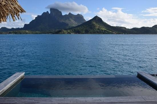 Four Seasons Resort Bora Bora: View from outside Bathroom and in front of plunge pool.  Mt Otemanu