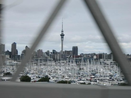 View from the Harbour bridge looking over the harbour at the Sky Tower