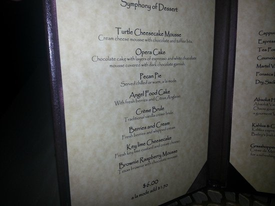 Omni Houston Hotel Westside: Dessert Menu