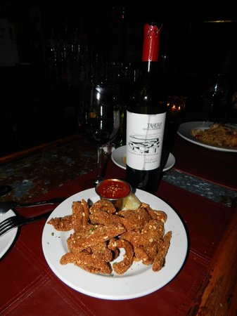 Cristiano Ristorante : Anatra alla Noce & Malbec~almond breaded duck tenderloins with spicy pomodoro dipping sauce