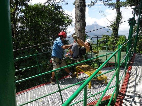 Costa Rica Sky Adventures - Arenal Park: Prepping for zip line
