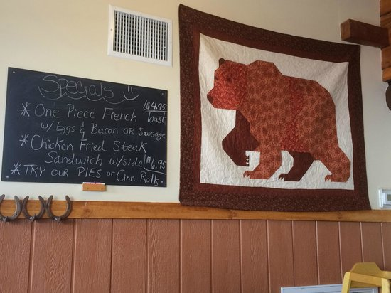 Tapestry and special sign in Mountain Center Cafe