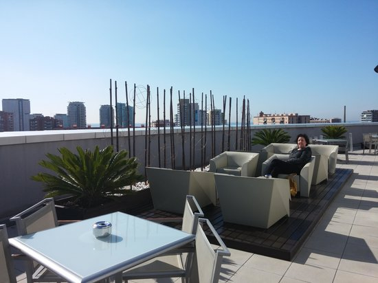TRYP Barcelona Condal Mar: Where we caught sun in the morning
