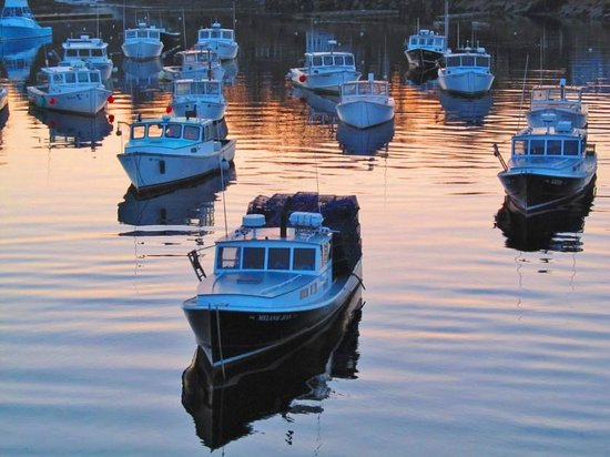 Riverside Motel: View of lobster boats from the Riverside