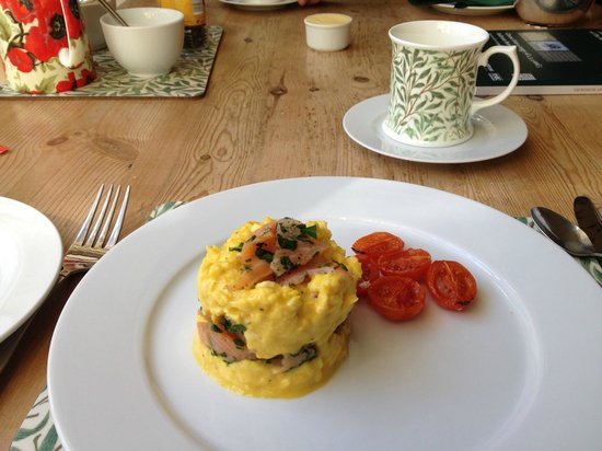 The Old Priory Bed and Breakfast: Scrambled eggs with smoked salmon!