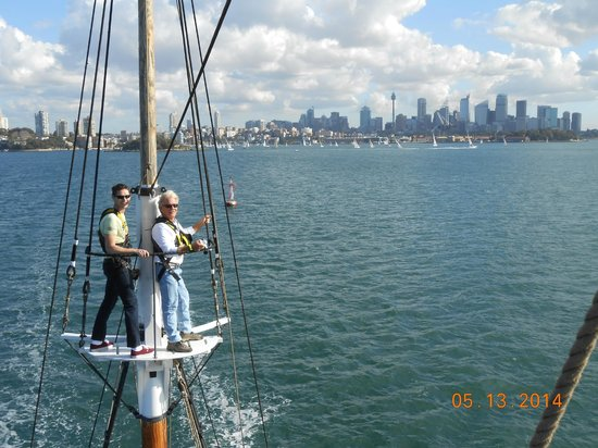 Sydney Harbour Tall Ships : me on the right, my regatta following