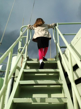 Woods Hole Passage Bed & Breakfast Inn: Future scientist climbing the ladder aboard The Knorr