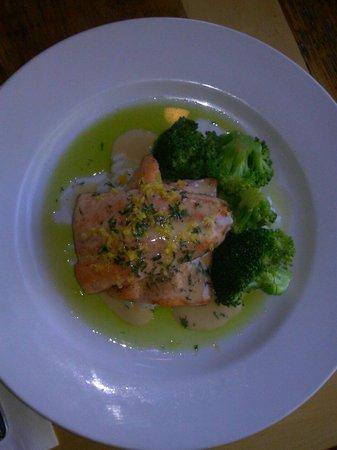 Up The Creek Bistro Wine Bar: Pan seared ruby trout, lemon dill Beurre Blanc, basmati rice, basil oil, brocolli