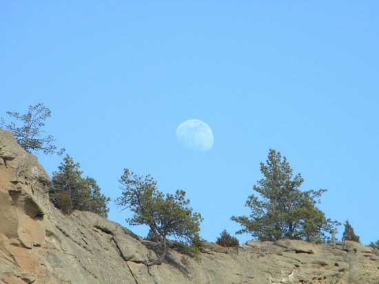 Pictograph Cave State Park: Moon over the park.