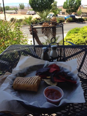 Cafe Allure: Mexican daredevil panini with chips & salsa out on the patio