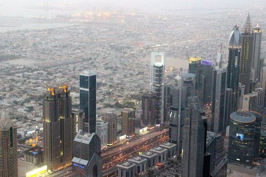 Al Salam Hotel Suites: The Chelsea Tower is more or less in the middle of this shot from the 124th floor of the Burj Ka
