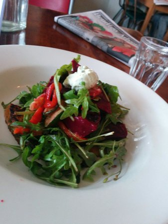 Saff's Cafe: Beetroot salad with roast pumpkin, rocket, and basil goats cheese.