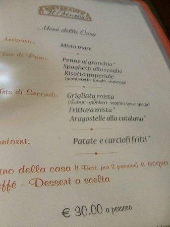 Montale, Italy: il menù